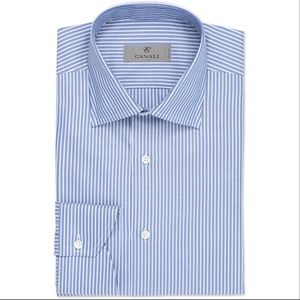 Canali Stripe Button Front Dress Shirt in Blue